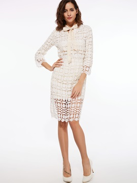 White Lace Perspective Women's Skirt Suit