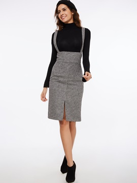 High Waisted Straps Plaid Women's Skirt Suit