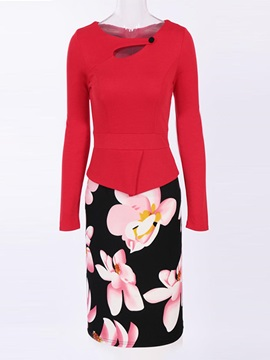 Long Sleeve Flower Print Package Buttocks Women's Skirt Suit