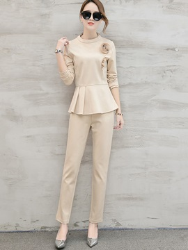 Plain Long Sleeve Falbala Appliques Patchwork Straight Pants 2-Piece Sets
