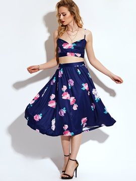 Floral Vest Expansion Skirt 2-Piece Sets