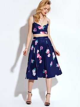 Floral Vest Expansion Skirt Women's Two-Piece Set
