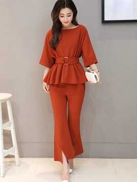 Plain Round Neck Belt T-Shirt Bellbottoms 2-Piece Sets