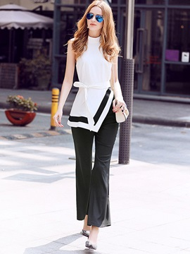 Color Block Lace-Up Asymmetric T-Shirt Bellbottoms Ankle Length Pants 2-Piece Sets