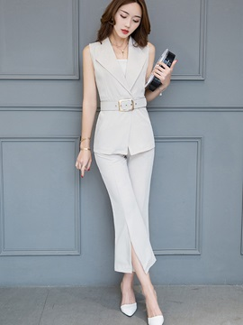 Plain Lapel Belt Vest &Bellbottoms Ankle Length Pants 2-Piece Sets