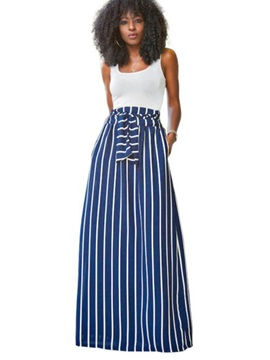 White Vest & Stripe Expansion Skirt 2-Piece Sets