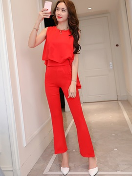 Chiffon Asymmetric Vest & Bellbottoms 2-Piece Sets
