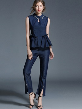 Falbala Hollow Sleeveless Shirt & Ankle Length Pants 2-Piece Sets