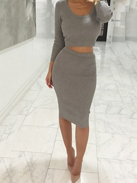 Plain Pullover T-Shirt & Bodycon Skirt 2-Piece Sets