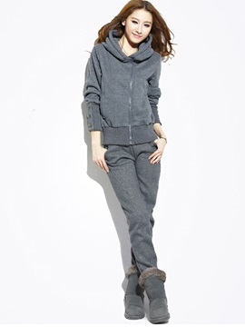 Thicken Hooded Hoodie Solid Color Pants Women's Sport Warm Suit