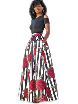 Floral Printed Short Sleeve High-Waist Women's Skirt Suit