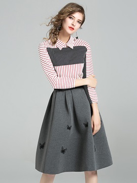 A-Line Embroidery Knee-Length Skirt and Long Sleeve Stripe Shirt Women's 2-Piece Set
