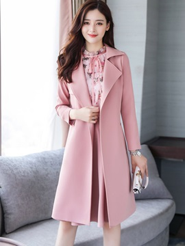 Floral Print Lace-Up Shirt A-Line Skirt and Long Sleeve Trench Coat Women's 3-Piece Set