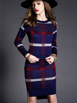 Plaid Round Neck Pullover and Bodycon Skirt Women's Skirt Suit