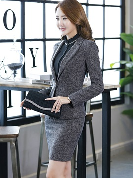 One Button Plaid Blazer and Bodycon Skirt Women's Professional Skirt Suit