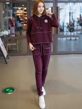 Hooded Hoodid and Pants Women's Sport Suit
