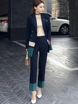 Double-Breasted Long Sleeve Blazer and Contrast Color Block Pants Women's Suit