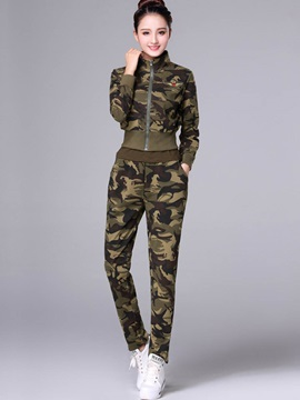 Camouflage Zipper Slim Jacket with Vest and Pants Women's 3-Piece Set