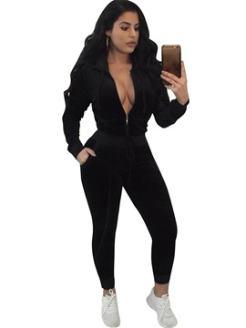 Zipper Hooded Tops and Pants Women's Sport Suit