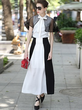 A-Line Skirt and Mesh Patchwork Shirt Women's Suit