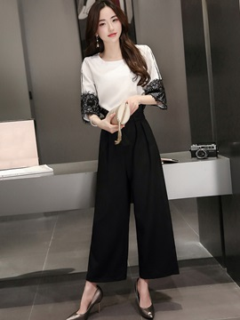 Lace Round Neck T-Shirt and Bellbottoms Women's Suit