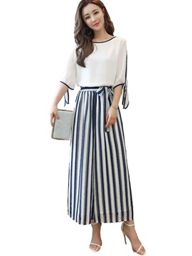 T-Shirt and Stripe Pants Women's Suit