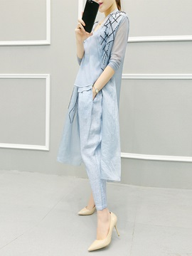 Trench Coat T-Shirt and Pants Women's Suit