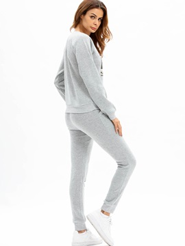 Letter Pullover and Pants Women's Sport Suit