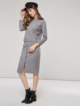 Plain Knitted Sweater Bodycon Skirt Women's Suit