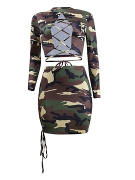 Camouflage Lace-Up Tops and Skirt Women's Suit