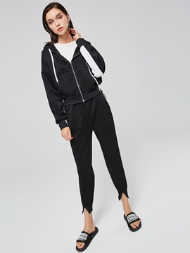 Stripe Loose Jacket and Pants Women's Two Piece Set
