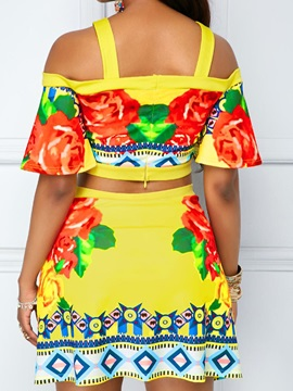 Floral Ethnic Sexy Blouse And Shorts Women's Suit