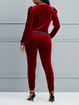Velvet Jacket And Slim Pants Women's Suit