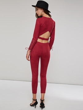Plain Round Neck Hoodie and Pants Women's Suit