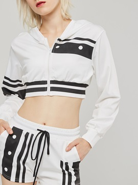 Short Stripe Lace-Up Hoodie and Shorts Women's Suit