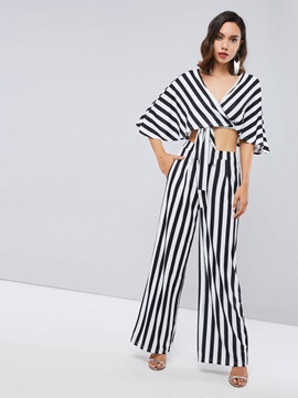 Striped Cropped Blouse And Wide Legs Pants Women's Suit
