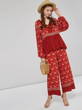 Ethnic Floral Print Loose Blouse And Pants Women's Suit