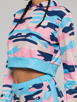 Color Block Tie Dye Hoodie and Shorts Women's Suit