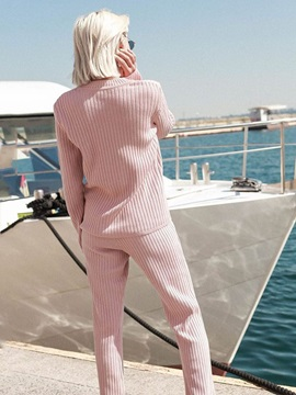 Plain Long Sleeve Sweater And Pants Knitted Women's Suit