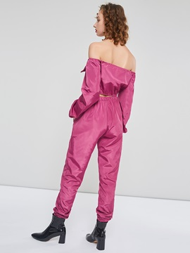 Plain Sexy Zipper Cropped Tee And Knickerbockers Women's Suit