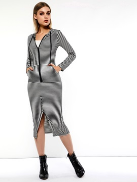Striped Hoodie Split Pencil Skirt Women's Two Piece Set