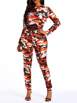 Camouflage Casual Pants T-Shirt Round Neck Women's Two Piece Set