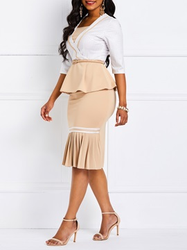 Color Block Wear to Work Skirt Bodycon Women's Two Piece Set