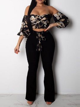 Travel Look Lace-Up Pants Pullover Off Shoulder Women's Two Piece Set