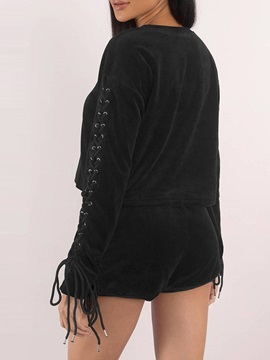 Lace-Up Long Sleeve T-Shirt Shorts Women's Two Piece Set