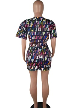 Print Western Letter Bodycon Pullover Women's Two Piece Set