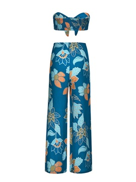 Casual Pleated Floral Wide Legs Lace-Up Women's Two Piece Sets