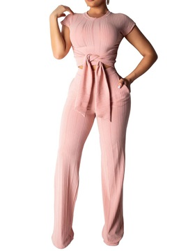 Lace-Up T-Shirt Pullover Straight Women's Two Piece Sets