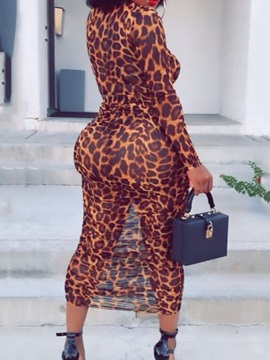 T-Shirt Western Leopard Stand Collar Pullover Women's Two Piece Sets
