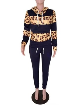 Color Block Hoodie Patchwork Hooded Women's Two Piece Sets